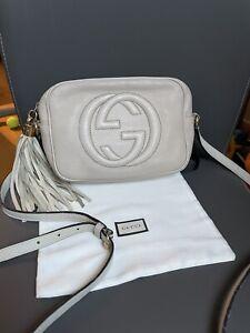 Authentic Gucci Soho Disco Beige Leather Crossbody Bag