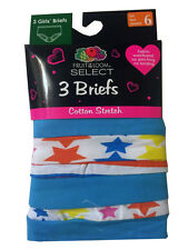 Fruit of the Loom Girls Briefs Cotton Stretch Assorted Colors 3pk  NWT