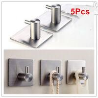 5Pcs Self Adhesive Stainless Steel Wall Door Hooks Towel Hanger Holder Bathroom