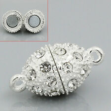 2 Sets SP Rhinestone Oval Magnetic Clasps 21x10mm