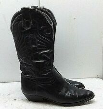 Etienne Aigner Black Leather Western Cow Boy Mid-Calf Boot Women Shoes 7.5M 38,5