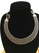 Beautiful Vintage TG-228 Silver 925 Mexico Heavy Link Necklace Choker 175g (260)