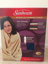Sunbeam Microplush Electric Warming blanket Throw - New