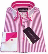 Camicie classiche da uomo rosa a fantasia righe