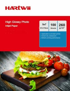 5x7 High Glossy Photo Paper Inkjet Paper 260Gsm 127x178mm Hartwii - 100sheets