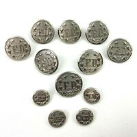 """Lot of 12 Quality Superior Fire Department Buttons Silver Tone 8 1""""  4 1/2"""""""