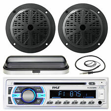"Black 6.5"" Marine Speakers, Radio Cover, Antenna,Pyle USB AUX Bluetooth Receiver"