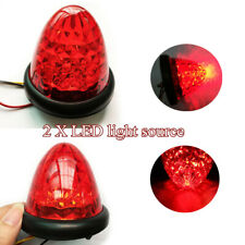 1 Pair Red Round Beehive LED Marker Light Clearance Truck Trailer showing lights