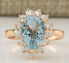 2.31 Carat Natural Aquamarine 14K Rose Gold Diamond Ring