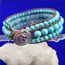 Blue Turquoise Leather Wrap Bracelets Wholesale Handmade Bracelet Jewelry D01