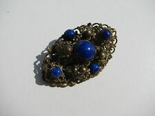 VINTAGE FAUX BLUE LAPIS GLASS CABOCHON STONES BRASS FILIGREE TIERED BROOCH