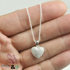 "925 Sterling Silver Micro Pave CZ HEART Pendant Necklace 16"" Italy Chain Ladies"