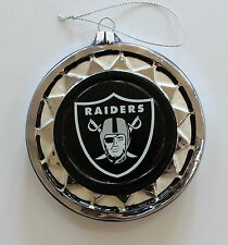 Gift Box Oakland Raiders NFL Lic Christmas Glass Ornament Holiday Football 4.5""