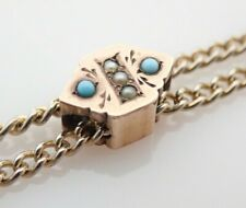 Antique Gold Filled Seed Pearl & Turquoise Beaded Slide Pocket Watch Chain