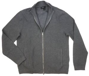 NEW THEORY GRAY COTTON DELLE HEATHER BREACH RIBBED FULL ZIP SWEATER JACKET sz L