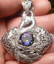 "Very Intricate ""SWAN"" Designer Mystic Quartz Pendant! Solid Sterling Silver 925"