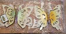 """4 Count Glow in the Dark Metal Butterflies w/ Stakes for Yard 7-9"""" Wingspan New"""