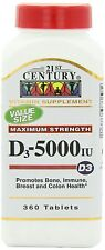 21st Century Vitamin D3 5000IU Tablets, 360-Count