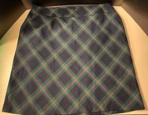 TALBOTS Woman Tartan Plaid Wool A-Line Skirt 20W black green & red diamond plus