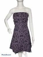 Tripp NYC Womens M Purple Damask Black Tulle Corset Strapless Dress Goth Punk