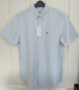 NWT AUTHENTIC LACOSTE CLASSIC FIT LIGHT BLUE OXFORD SHIRT. FR 38 - SMALL.