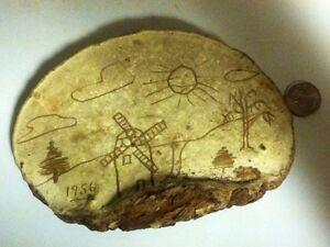 1956 Child Art Carved On Dryed Mushroom Super Rare Find Look!