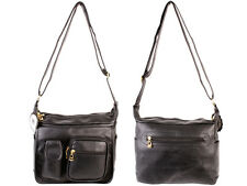 WOMEN'S FASHION NEW BLACK LEATHER SHOULDER BAG HANDBAG ORGANISER MULTI POCKETS