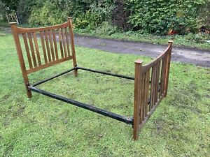 Vintage Wooden & Metal Bed Frame Arts & Crafts Small Double Antique #L