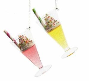 Kurt Adler T3015 Glass Fancy Drink cups  Set 2 Hanging  Ornament