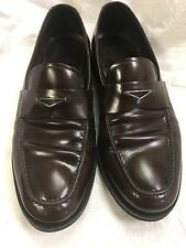 Prada Men's Brown PENNY LOAFER  Leather Dress Shoes Size 8.5