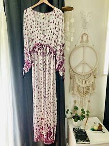 Jaase Drape Dress Gown Hippy Gypsy Boho L White Purple Maxi Tall