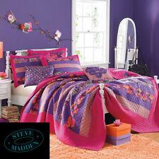"New STEVE MADDEN Full Queen Pink Purple Boho Patchwork Cotton Quilt 90""x90""~SALE"
