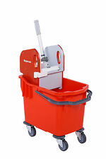 More details for 25l professional heavy duty kentucky mop bucket with wheels - red