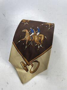 Vintage Polo Ralph Lauren Horse Equestrian Silk Necktie Tie Wide Luxury