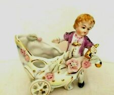 Vintage Colonial Victorian Boy with Cart Planter or Vase Japan