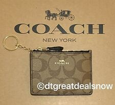 NEW COACH MINI SKINNY ID CASE SIGNATURE KHAKI BLACK F16107