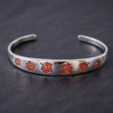 Sterling Silver Maple Leaf bracelet with chip orange opal inlay