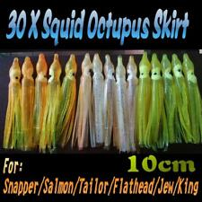 "30X 3.5"" 10cm Soft Octopus Squid Skirt Trolling Jig Lure 3 Colors Snapper OWY"