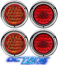 "4"" Round Truck Trailer RV Brake Tail Light Turn Signal Red & Amber Led Lights CH"