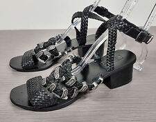 Top Shop Black Braided Leather Sandals With Metal Decals Womens Size 7 / 37