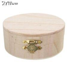 Portable Storage Boxes Round Wooden Box Gift Wedding Case Organizer Hardware b49
