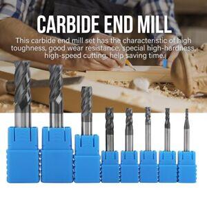8pcs 2-12mm 4 Flute End Mill CNC Milling Cutter Drill Bit for Aluminum Copper