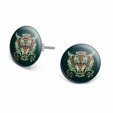 Fierce Snarling Tribal Tiger Oni  Novelty Silver Plated Stud Earrings