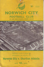 NORWICH CITY V CHARLTO ATHLETIC 24 AUG 1960 VGC. DISCOUNT POSTAGE!