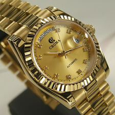 CROMA Day&Date Automatic 18K Gold Plated Gold Dial Luxury Dress Styles watch