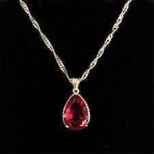 Xmas Wedding Teardrop Red Ruby 18K White Gold Plated Pendant Necklace Chain