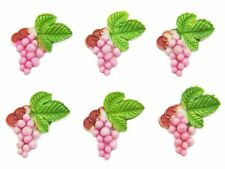 (6) VTG pink GRAPE CLUSTER celluloid cabochon charms JAPAN flat back 21mm
