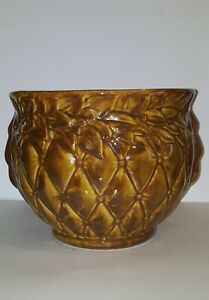 VTG McCoy Jardiniere Pottery Glossy Brown&Gold Quilted w/Berries Planter #1480