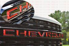 New 2019-2021 Chevrolet Silverado Custom Grille Insert Emblem Badge Red
