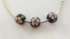 3 Cloisonne Charm Beads - Black/Flower - 10mm - For European/Charm Bracelet
